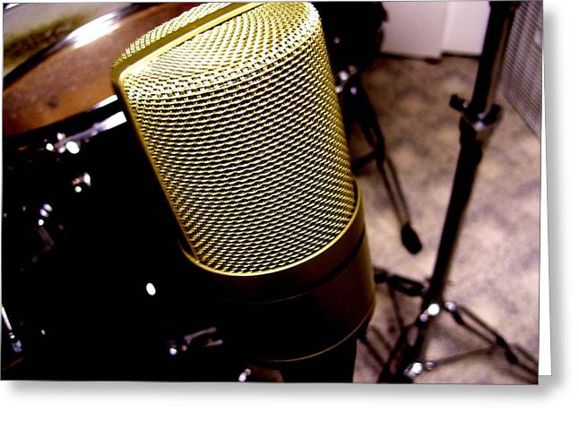 Music Stand Greeting Cards - Microphone Greeting Card by Mike Grubb