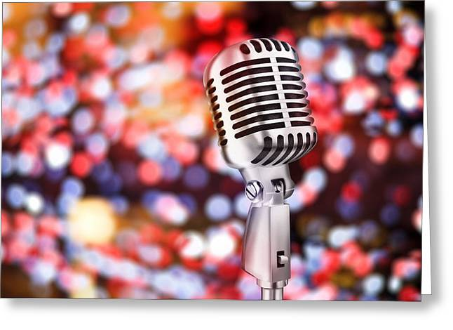 Audience Greeting Cards - Microphone Greeting Card by Setsiri Silapasuwanchai