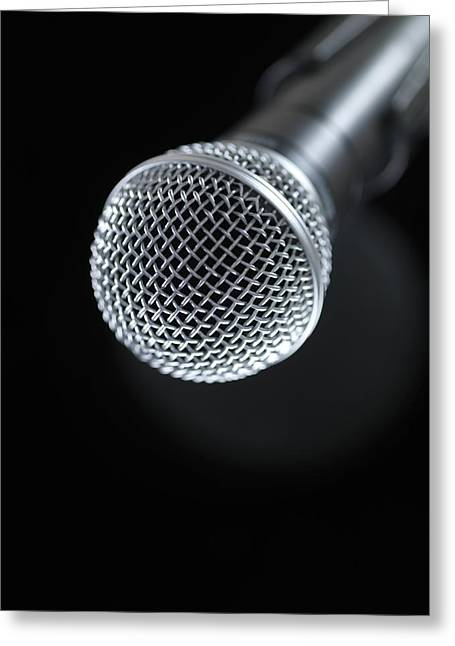 Press Conference Greeting Cards - Microphone Greeting Card by Tek Image