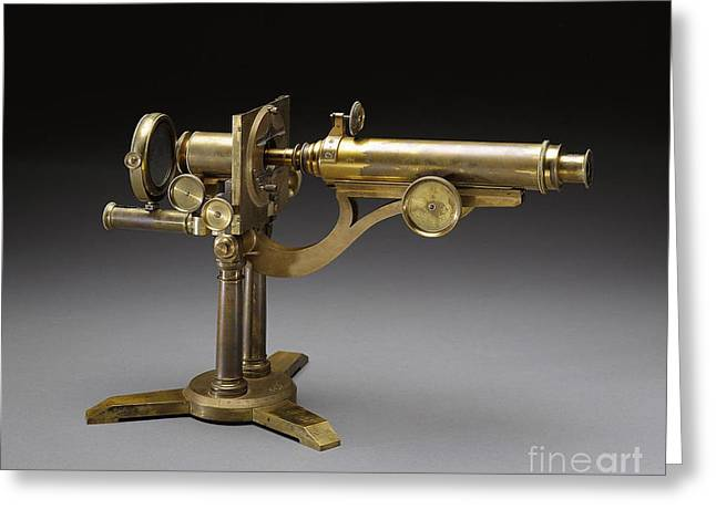 1833 Greeting Cards - Microscope, 1864 Greeting Card by Science Source