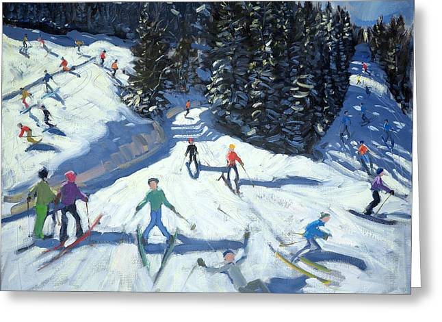 Austria Paintings Greeting Cards - Mid-morning on the Piste Greeting Card by Andrew Macara