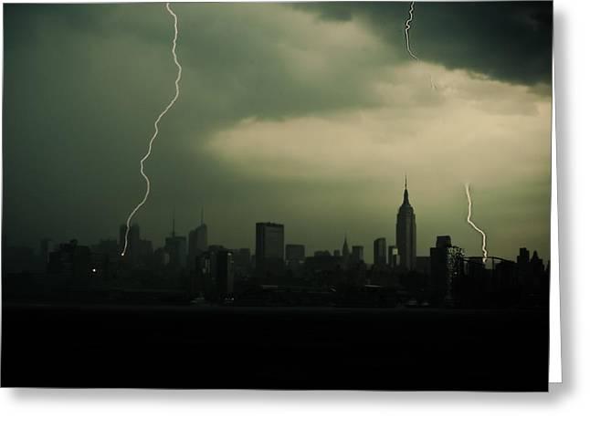 Lightning Strike Greeting Cards - Mid-Town Strikes Greeting Card by David Hahn