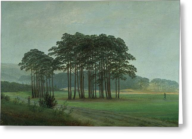 Green Pasture Greeting Cards - Midday Greeting Card by Caspar David Friedrich