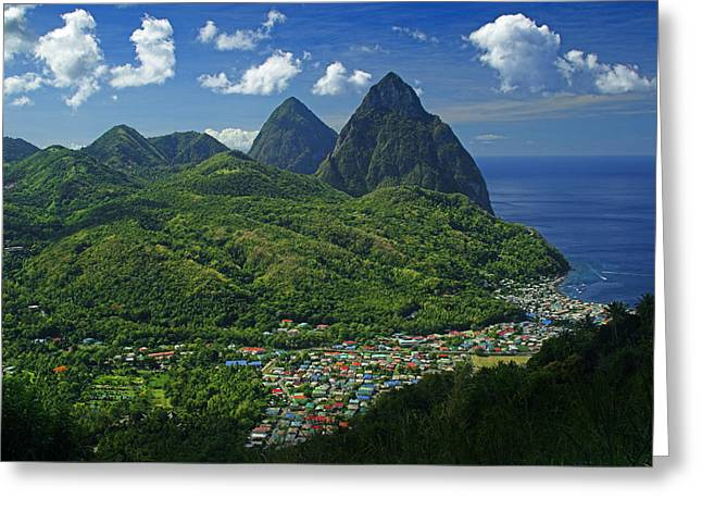 Sunlight Peaking Greeting Cards - Midday- Pitons- St Lucia Greeting Card by Chester Williams