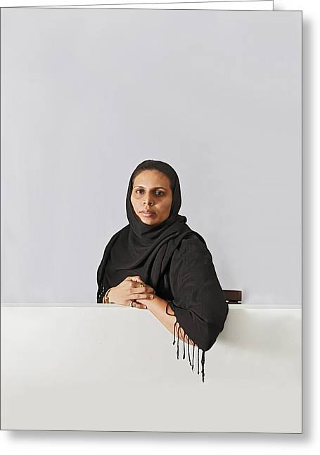Middle East Lady With Headscarf Greeting Card by Kantilal Patel