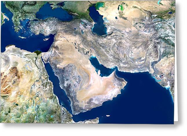 Iraq Conflict Greeting Cards - Middle East, Satellite Image Greeting Card by Planetobserver