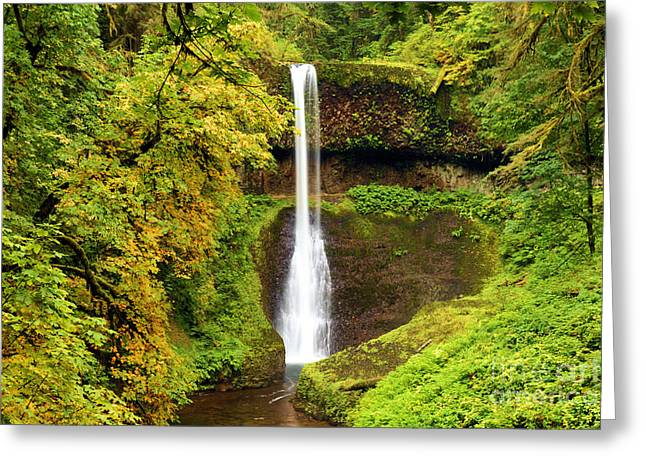 Silver Falls Greeting Cards - Middle North Falls Greeting Card by Adam Jewell