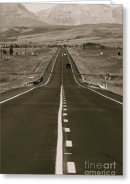 Black Top Greeting Cards - Middle of the Road Greeting Card by David  Hubbs