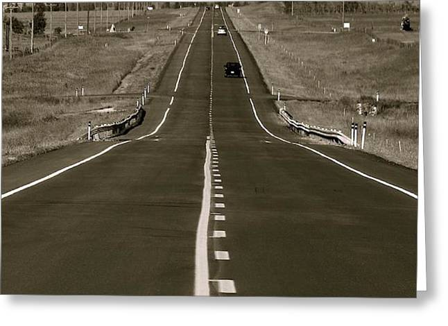 Middle of the Road Greeting Card by David  Hubbs