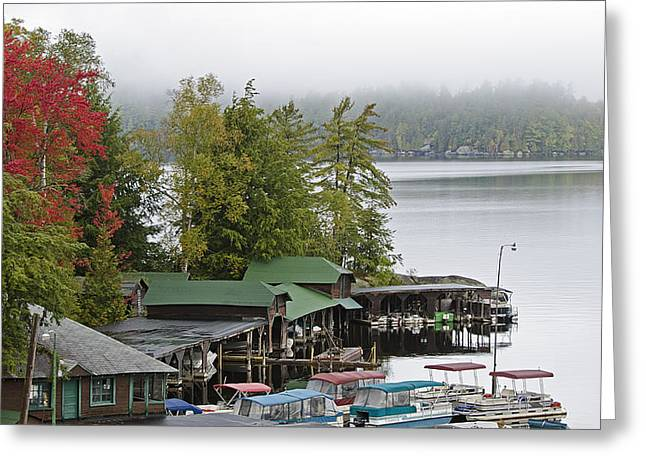 Foggy Day Greeting Cards - Middle Saranac Lake during Autumn - New York Greeting Card by Brendan Reals