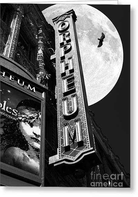 Miserable Greeting Cards - Midnight at The Orpheum - San Francisco California - 5D17991 - Black and White Greeting Card by Wingsdomain Art and Photography