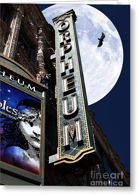 Vulture Greeting Cards - Midnight at The Orpheum - San Francisco California - 5D17991 Greeting Card by Wingsdomain Art and Photography