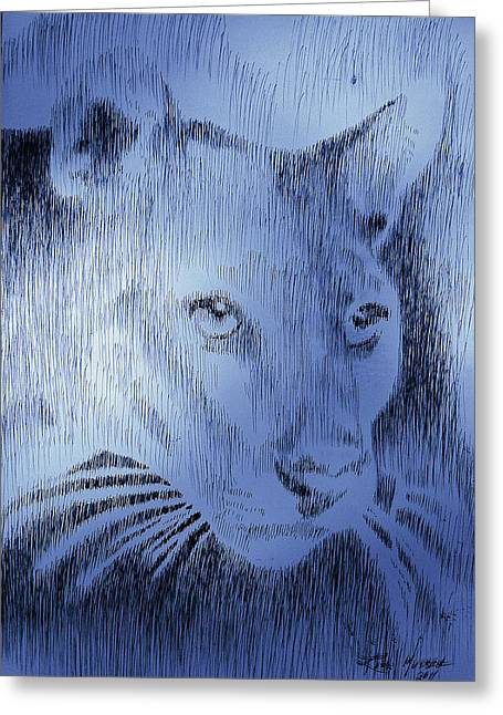Robbi Musser Pen And Ink Greeting Cards - Midnight Blue Greeting Card by Robbi  Musser