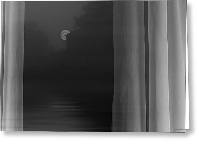 White Curtain Greeting Cards - Midnight Calm Greeting Card by Ron Jones