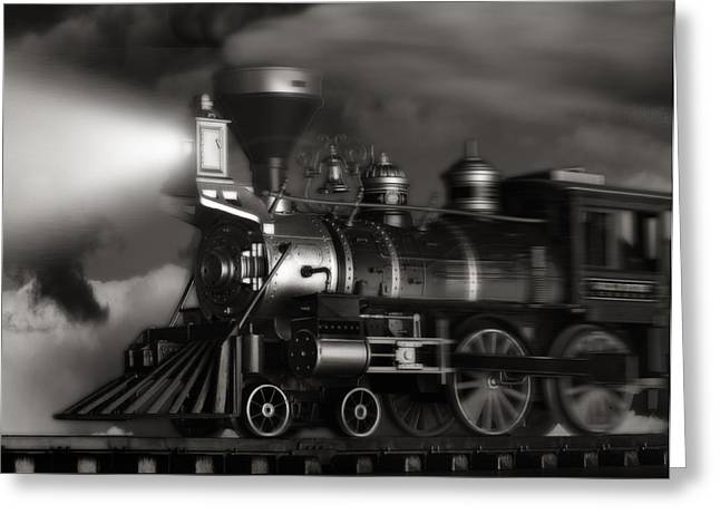 Train Tracks Greeting Cards - Midnight Flyer Greeting Card by Tom Mc Nemar