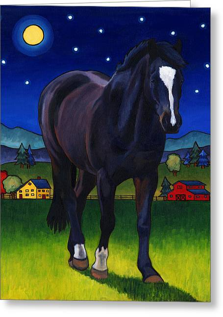 Art For Children Greeting Cards - Midnight Horse Greeting Card by Stacey Neumiller