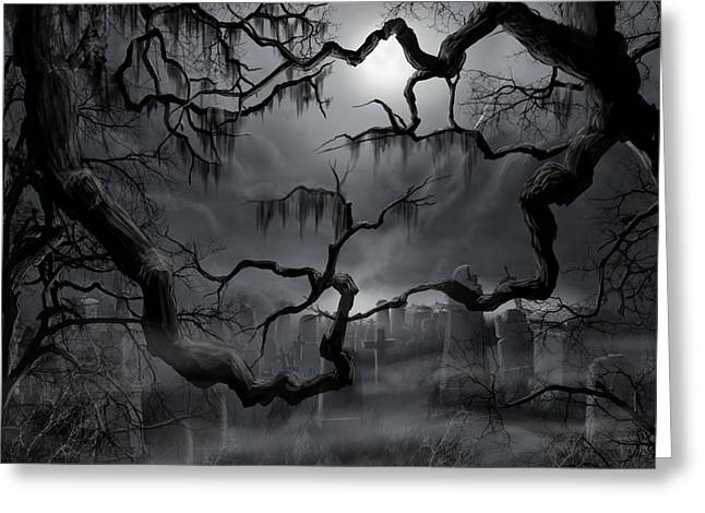 Creepy Paintings Greeting Cards - Midnight in the Graveyard II Greeting Card by James Christopher Hill