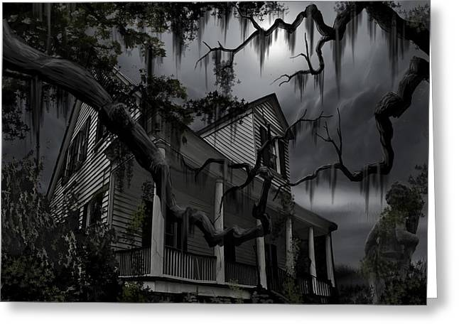"""haunted House"" Paintings Greeting Cards - Midnight in the House Greeting Card by James Christopher Hill"