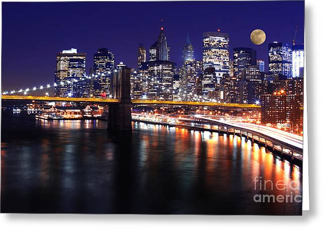 Buildings In The Harbor Greeting Cards - Midnight in the Shadow of Brooklyn Bridge - Brooklyn Bridge Greeting Card by Lee Dos Santos