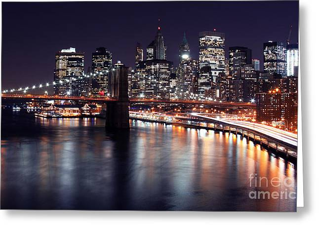 Do Business Greeting Cards - Midnight in the Shadow of Brooklyn Bridge II- Brooklyn Bridge Greeting Card by Lee Dos Santos