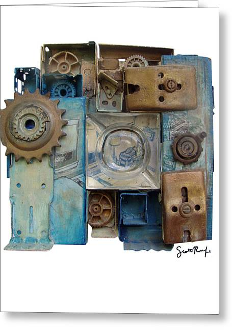 Found-object Greeting Cards - Midnight Mechanism Greeting Card by Scott Rolfe