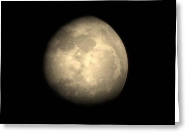 Craters Pyrography Greeting Cards - Midnight Moon Greeting Card by Aliesha Fisher