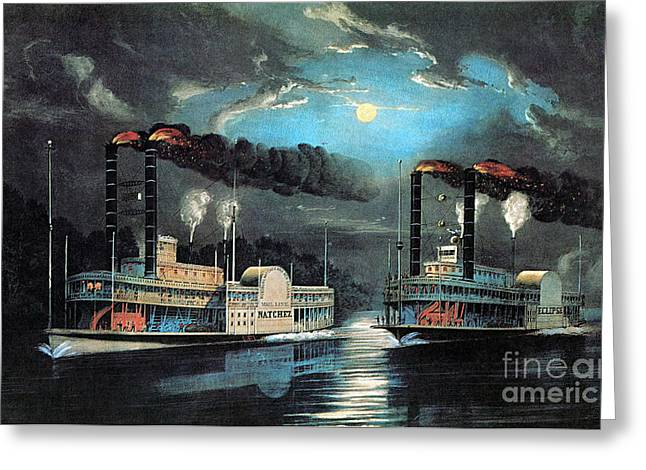 Large Scale Greeting Cards - Midnight Race On The Mississippi 1854 Greeting Card by Photo Researchers