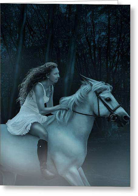 Pale Rider Greeting Cards - Midnight Ride through the Forest Greeting Card by Ethiriel  Photography