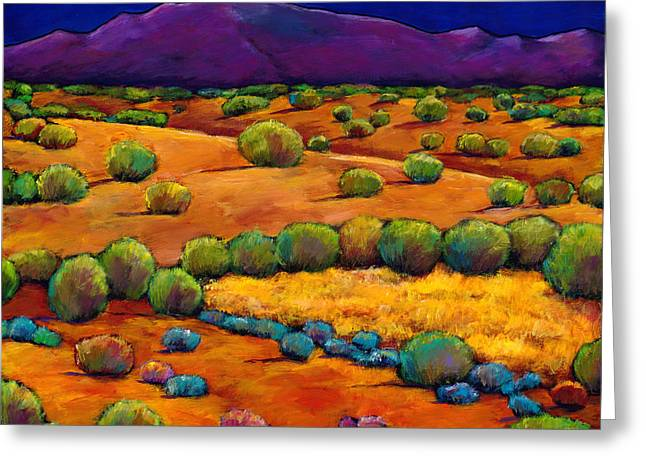 Vibrant Paintings Greeting Cards - Midnight Sagebrush Greeting Card by Johnathan Harris