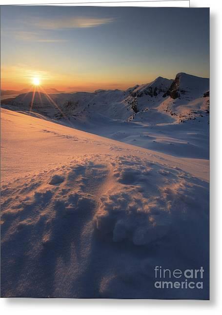 Nordland County Greeting Cards - Midnight Sun Above Lilletinden Greeting Card by Arild Heitmann