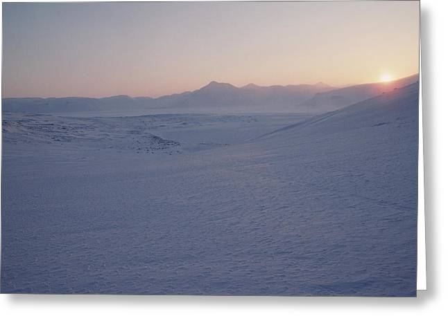 Midnight Sun Hovers Above Polar Greeting Card by Gordon Wiltsie