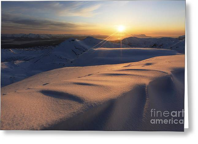 Nordland County Greeting Cards - Midnight Sun Over Lilletinden Mountain Greeting Card by Arild Heitmann