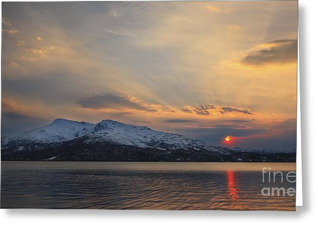 Sunset In Norway Greeting Cards - Midnight Sun Over Tjeldsundet Strait Greeting Card by Arild Heitmann
