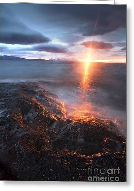 Sunset In Norway Greeting Cards - Midnight Sun Over VÃ¥gsfjorden Greeting Card by Arild Heitmann