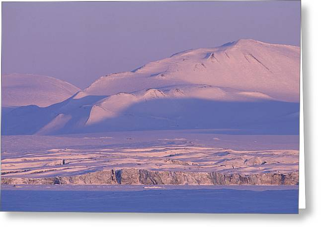 Sunset In Norway Greeting Cards - Midnight Sunlight On Polar Mountains Greeting Card by Gordon Wiltsie