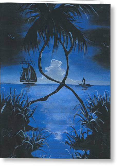 Moonlit Night Greeting Cards - Midnite Greeting Card by Herold Alveras