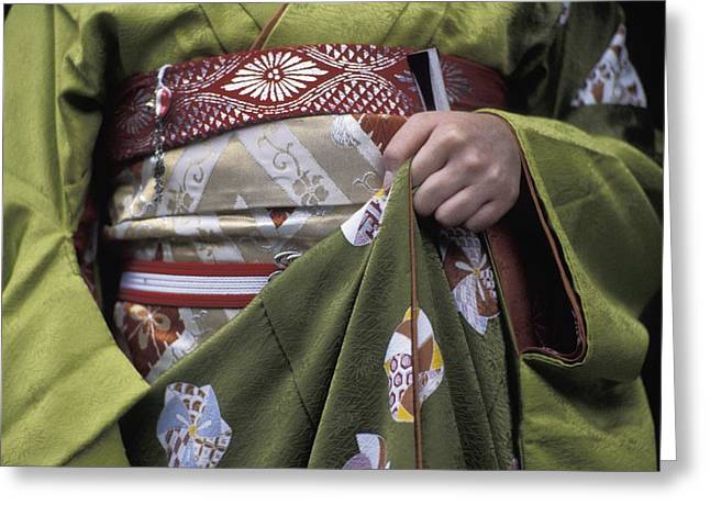 Green Day Greeting Cards - Midsection Of Apprentice Geisha - Maiko Greeting Card by Axiom Photographic
