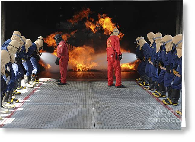 Rubber Boot Greeting Cards - Midshipmen Work Together To Battle Greeting Card by Stocktrek Images