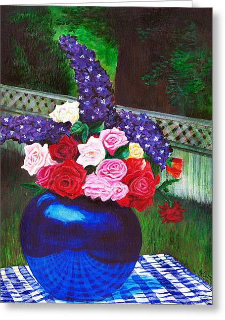 Delphineum Greeting Cards - Midsummer Days Return Greeting Card by Virginia Keith