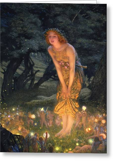 Evening Lights Greeting Cards - Midsummer Eve Greeting Card by Edward Robert Hughes
