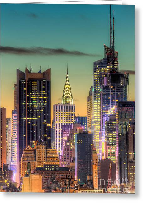 Nast Greeting Cards - Midtown Buildings Morning Twilight Greeting Card by Clarence Holmes