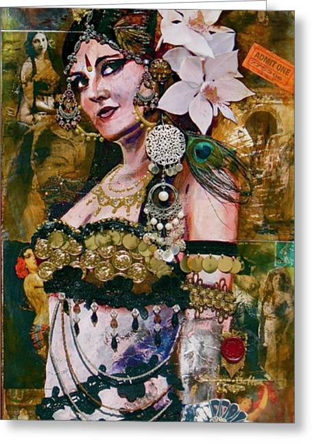 Tribal Belly Dance Greeting Cards - Midway Magic Greeting Card by Stephanie Bolton