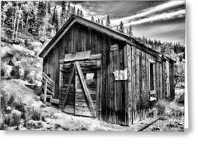 Old Mine Greeting Cards - Midwest Mine 1 BW Greeting Card by Lana Trussell