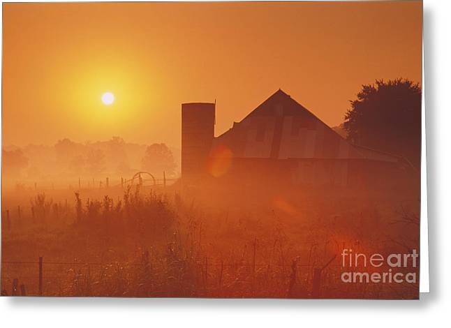 Rural Indiana Greeting Cards - Midwestern Rural Sunrise - FS000405 Greeting Card by Daniel Dempster