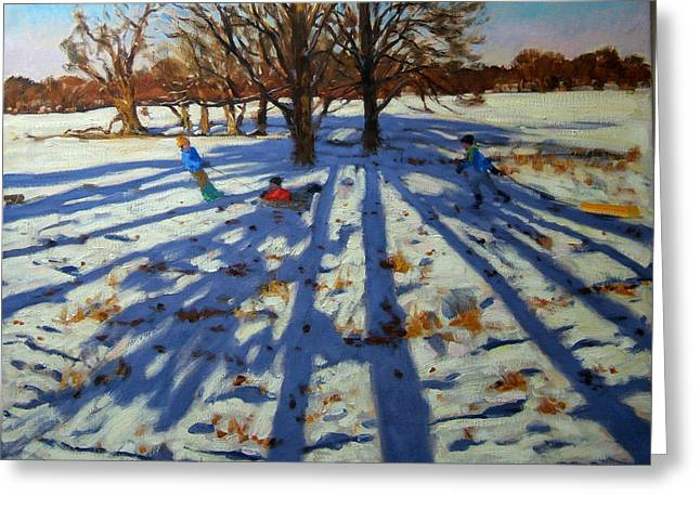 Toboggan Greeting Cards - Midwinter Greeting Card by Andrew Macara