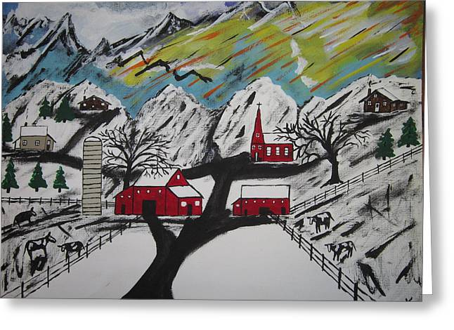 Mountain Road Greeting Cards - Midwinter Peace Greeting Card by Jeffrey Koss