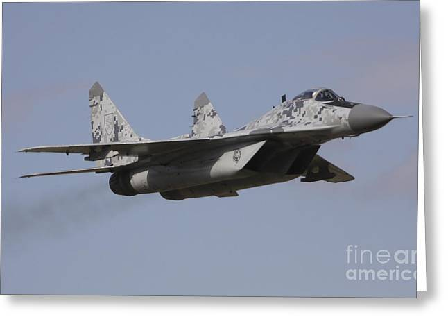 Hradec Greeting Cards - Mig-29 Of The Slovak Air Force Greeting Card by Timm Ziegenthaler