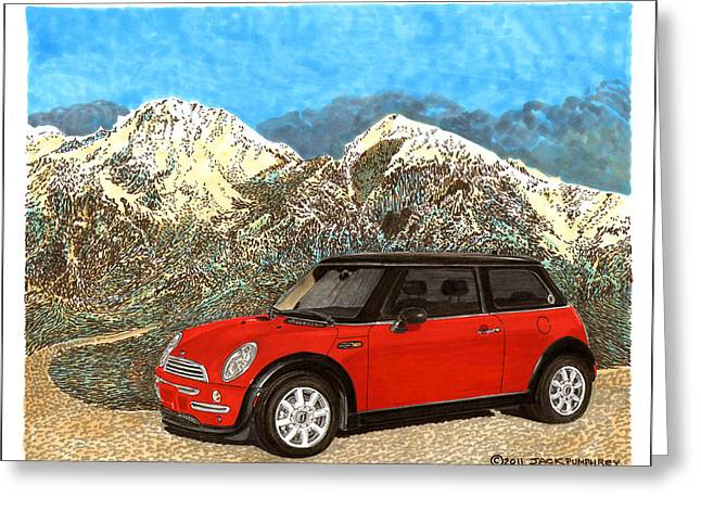 Vintage Hood Ornament Paintings Greeting Cards - Mighty Mini Cooper S Greeting Card by Jack Pumphrey