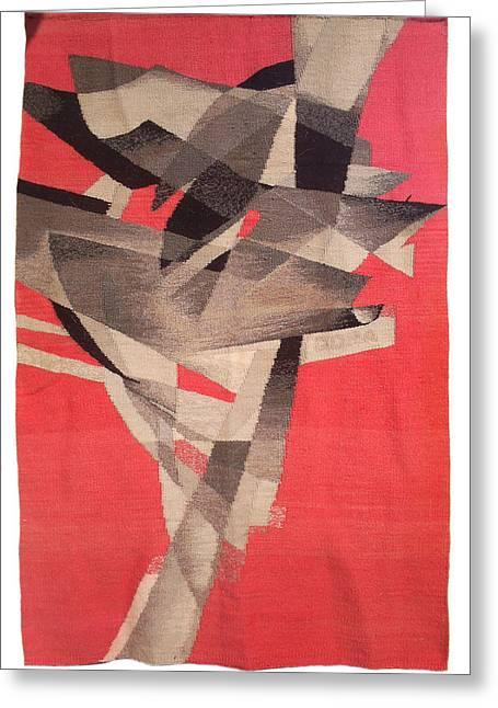 Weave Tapestries - Textiles Greeting Cards - Migration Greeting Card by Dora Stoilova Zlatan Stoilov