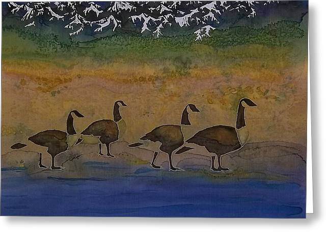 Blue Tapestries - Textiles Greeting Cards - Migration series geese 2 Greeting Card by Carolyn Doe